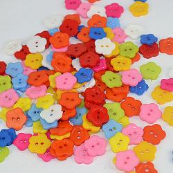 Красивые кнопки цветок, Пуговицы из cмолы, разноцветные, диаметром около 12 мм , отверстие : 1.5 мм(X-FNA149S)