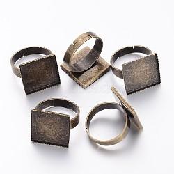 Anciennes ébauches bronze laiton réglable pad de bague pour la fabrication de bijoux vintage, Taille: anneau: environ 17mm de diamètre intérieur; Plateau carré: 15.5mm(X-KK-J052-AB)