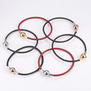Braided Leather Cord Bracelets, with Stainless Steel Clasp, Goldenrod, 7-1/4 inches(185mm)(BJEW-G560-02J)