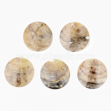 Natural Akoya Shell Pendants, Mother of Pearl Shell Pendants, Flat Round, Camel, 25x2~5mm, Hole: 1.6mm(X-SHEL-R048-023)