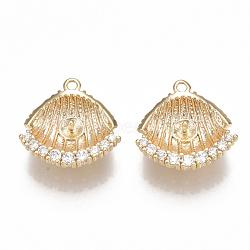 Pendentifs en forme de zircon cubique en laiton, pour perle à moitié percée, coquille, clair, véritable 18k plaqué or, 15.5x15.5x4.5mm, trou: 1.2 mm; broches: 1 mm(KK-S350-125G)