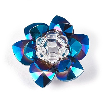 35mm MarineBlue Flower Glass Beads