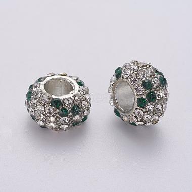 15mm White Rondelle Alloy+Rhinestone Beads