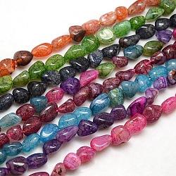 puces perles d'agate craquelée naturelle, teints, couleur mélangée, 8~16x8~12x6~10 mm, trou: 1 mm(X-G-P031-M)
