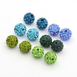 Pave perles rondes boule disco argile polymère de strass, couleur mixte, 10mm, Trou: 1.5mm, 6 pièces / kit(RB-X0003-03)