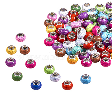 Imitation Turquoise Style Acrylic European Beads, Large Hole Beads, with Silver Color Plated Brass Double Cores, Rondelle, Mixed Color, 14x9.5mm, Hole: 5mm(X-OPDL-Q132-M)