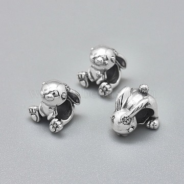 925 Sterling Silver European Beads, Large Hole Beads, Carved 925, Rabbit, Antique Silver, 10.5x10x10mm, Hole: 4.5mm(STER-I019-12AS)