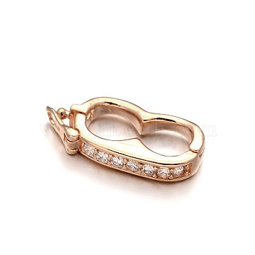 Rack Plating Brass Micro Pave Cubic Zirconia Twister Clasps, Lead Free & Cadmium Free, Rose Gold, 19x9.5x3mm(ZIRC-I012-16RG-RS)