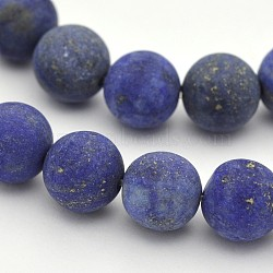 Natural Lapis Lazuli Round Beads Strands, Frosted, Dyed, 6mm, Hole: 1mm; about 63pcs/strand, 15.3inches