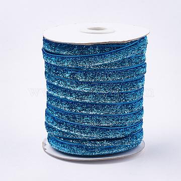 Glitter Sparkle Ribbon, Polyester & Nylon Ribbon, Colorful, 3/8 inch(9.5~10mm); about 50yards/roll(45.72m/roll)(SRIB-T002-01B-34)