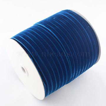 1/8inch Single Face Velvet Ribbon, MediumBlue, 1/8inch(3.2mm); about 200yards/roll(182.88m/roll)(OCOR-R019-3.2mm-070)