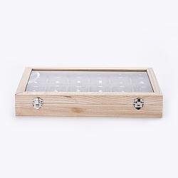 boîtes de présentation en bois, avec le verre, 18 plateau de présentation suspendu empilable avec couvercle transparent, rectangle, antiquewhite, 35x24x5.5 cm(ODIS-P006-08)