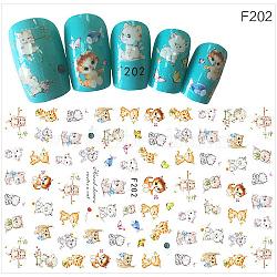 Stickers autocollants à ongles, pour la conception d'art d'ongle, motif de chat, colorées(MRMJ-G005-05H)