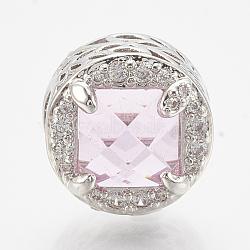 Perles européennes en laiton avec zircone cubique, Perles avec un grand trou   , plat rond, platine, pearlpink, 12x11mm, Trou: 4.5mm(ZIRC-T006-34P-03)