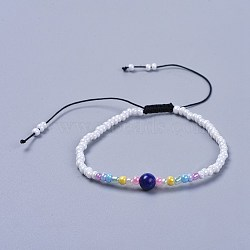 """Fils de nylon ajustables bracelets de perles tressées, avec perles naturelles en lapis-lazuli et en verre, 1-7/8"""" (4.9 cm)(BJEW-JB04371-04)"""