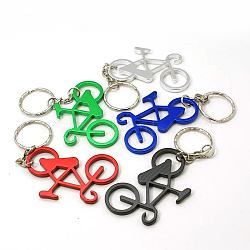 Aluminum Alloy Bottle Openners, with Iron Rings, Bicycle, Mixed Color, 105mm(AJEW-G001-11)