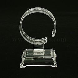 Plastic Bracelet Displays, C Type Single Watch/Bracelet Display Stand, Clear, 94x60x40mm(BDIS-B001-2)