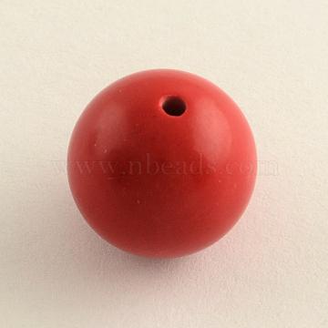 Round Cinnabar Beads, FireBrick, 10mm, Hole: 2mm(CARL-Q002-10mm)