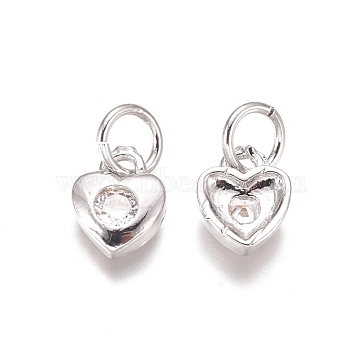 Brass Pendants, with Cubic Zirconia and Jump Rings, Heart, Clear, Platinum, 7x6x2mm, Hole: 3mm(X-ZIRC-I038-35P)