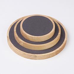 Bijoux présentoirs en bois, avec faux suède, plat rond, noir, s: 11x1.8 cm; m: 15x1.8 cm; l: 19.7x1.8cm; 3 pcs / ensemble(ODIS-E013-06B)