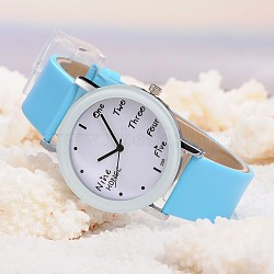 Montres de poignet en cuir d'unité centrale de quartz des femmes, avec la tonalité de platine tête de montre d'alliage, Bleu ciel, 225x18 mm; cadran montre: 46x39x8 mm; boitier montre: 30 mm(WACH-O006-01A)