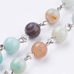 Chaînes perlées en amazonite naturelle manuelles, non soudée, pour création de colliers bracelets, avec les accessoires en laiton, platine, 39.37''; 1m / brin(AJEW-JB00318-01)