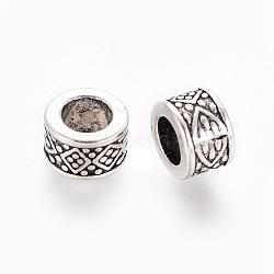 Тибетского серебра Европейский бисером, крупные бусины столбцов дыра, без свинца и без кадмия, античное серебро, диаметром около 8 мм , толщиной 5 мм , отверстие : 4.5 мм