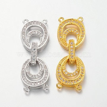 Oval Brass Micro Pave Cubic Zirconia Fold Over Clasps, Lead Free & Nickel Free, Mixed Color, 35x13x5mm, Hole: 1mm(ZIRC-F013-04-FF)