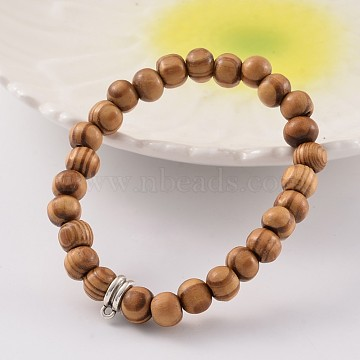 Round Wood Beaded Stretch Bracelets, with Tibetan Style Alloy Hanger Links, Antique Silver, BurlyWood, 54mm(X-BJEW-JB02170)