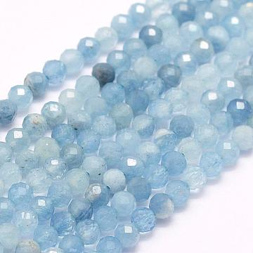 Natural Aquamarine Beads Strands, Faceted, Round, 2mm, Hole: 0.5mm; about 210~220pcs/strand, 15.7 inches(40cm)(G-F509-02-2mm)