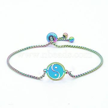 """Bracelets réglables en 201 acier inoxydable, bracelets bolo, avec des chaînes de boîte, huit diagramme, multicolore, 9-5/8"""" (24.5 cm)(STAS-S105-JN655)"""