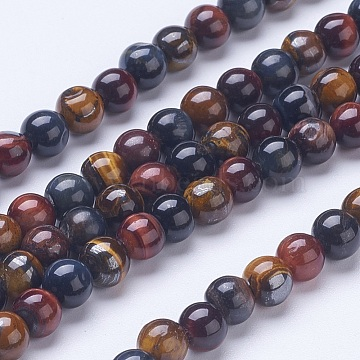 Natural Tiger Eye Beads Strands, Grade AB, Round, 6mm, Hole: 1mm, about 66pcs/strand, 15.39 inches(G-D855-07-6mm)