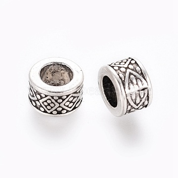 Tibetan Style Alloy European Beads, Large Hole Beads, Lead Free & Cadmium Free, Column, Antique Silver, about 8mm in diameter, 5mm thick, hole: 4.5mm(X-LF8485Y)
