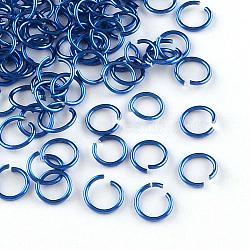fil d'aluminium Anneaux ouvert, bleu royal, Jauge 20, 6x0.8 mm; diamètre intérieur: 5 mm; sur 430 pcs / 10 g(X-ALUM-R005-0.8x6-09)