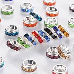 teneur en laiton un strass perles d'espacement, plaqué argent, sans nickel, couleur mélangée, 6x3 mm, trou: 1 mm(RSB036NF)