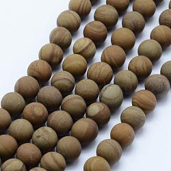"""Chapelets de perles en pierre en bois naturel, mat, rond, 7.5~8mm, trou: 1mm; environ 48 pcs/chapelet, 15.3"""" (39 cm)(G-F518-21-8mm)"""