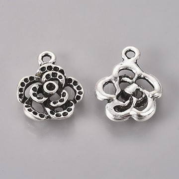 Antique Silver Flower Alloy Charms