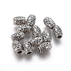 Thai Sterling Silver Beads, Hollow, Barrel with Flower, Antique Silver, 7x5mm, Hole: 2.4mm(STER-G029-49AS)