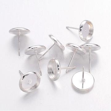 Silver Color Plated Brass Earring Settings, about 10mm wide, 12mm long, Tray: 8mm, Pin: 1mm(X-IFIN-Q006-S)