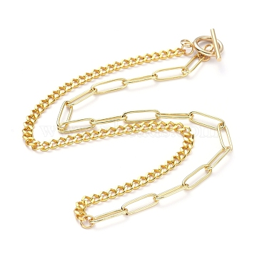 Brass Curb Chain/Paperclip Chain Necklaces, with 304 Stainless Steel Toggle Clasps, Golden, 17.12 inches(43.5cm)(X-NJEW-JN02781-01)