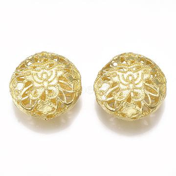Brass Filigree Beads, Nickel Free, Flat Round, Raw(Unplated), 18x9mm, Hole: 1.8mm(KK-T040-085-NF)