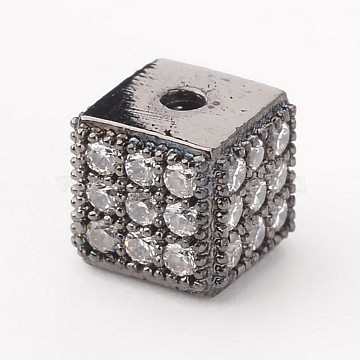 Cube Brass Micro Pave Cubic Zirconia Beads, Gunmetal, 5.5x5.5x5.5mm, Hole: 1mm(X-ZIRC-K015-07B)