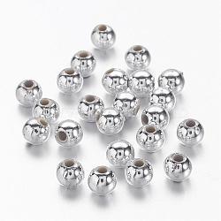 Argenté volumineux acrylique ronde séparateurs perles pour les enfants bijoux, environ 4 mm de diamètre, Trou: 1mm(X-PL681-1)