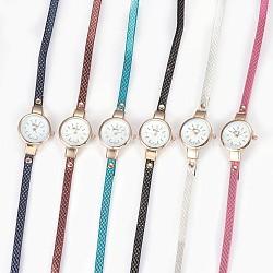 """Montre en alliage montres bracelet tête, Avec cuir pu et strass, 3-loop, Les bracelets d'enveloppe, plat rond, couleur mixte, 22.4"""" (57 cm), 6~12mm(WACH-P017-I)"""