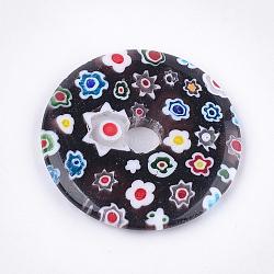 Pendentifs de millefiori vernissés, disque de donut / pi, noir, 44.5~45x6mm, Trou: 8~10mm(LAMP-S191-13B)