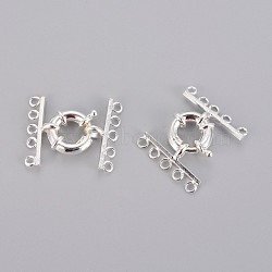латунные пружинные кольца застежки, с конца бара, серебристый цвет, о 15 mm в диаметре, 29 mm длиной, 4 mm, отверстия: около 2 mm(KK85-S)