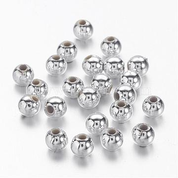 4mm Silver Round Acrylic Beads