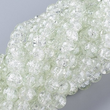 8MM Clear Crackle Glass Round Beads Strands for DIY Jewelry, 8mm, Hole: 1.3~1.6mm, 31.4 inches(X-CCG-Q001-8mm-01)