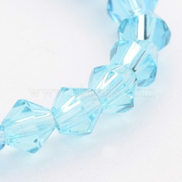 4mm SkyBlue Bicone Glass Beads