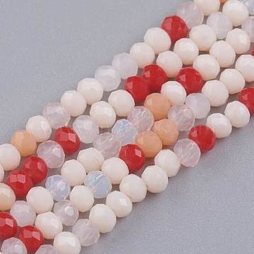 Faceted Glass Beads Strands, Rondelle, Imitation Jade Style, Mixed Color, 3~3.5x2.5~3mm, Hole: 0.6mm; about 135pcs/Strand, 14.65 inches(37.2cm)(X-GLAA-G074-B04)